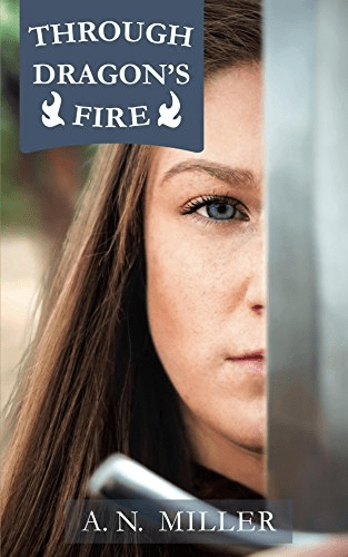cover of the book listing Through the Dragon's Fire across a photo of a young woman
