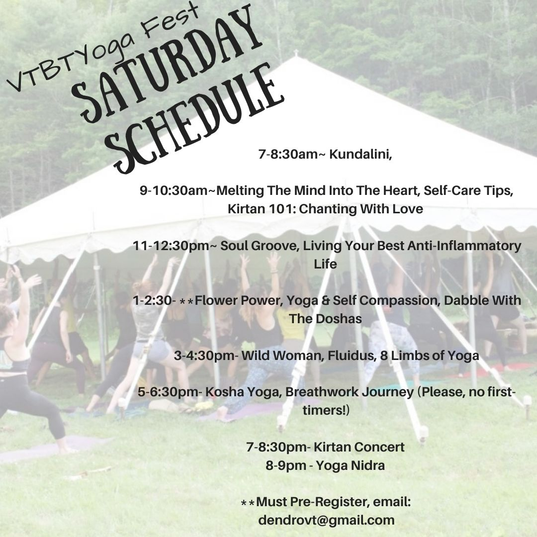 Saturday schedule of events from Kundalini to concert.