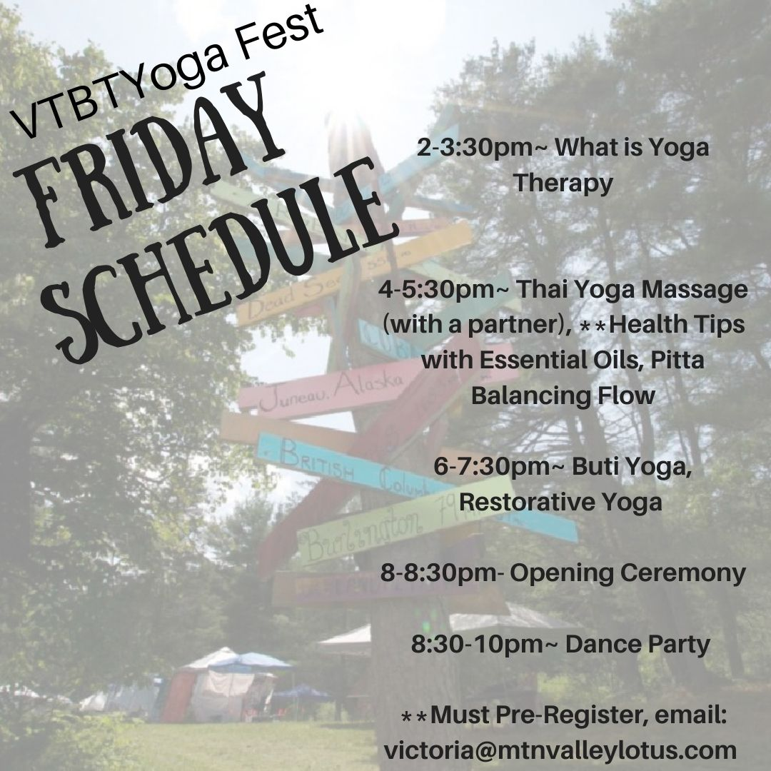 Friday schedule of events from essential oils to dance party.