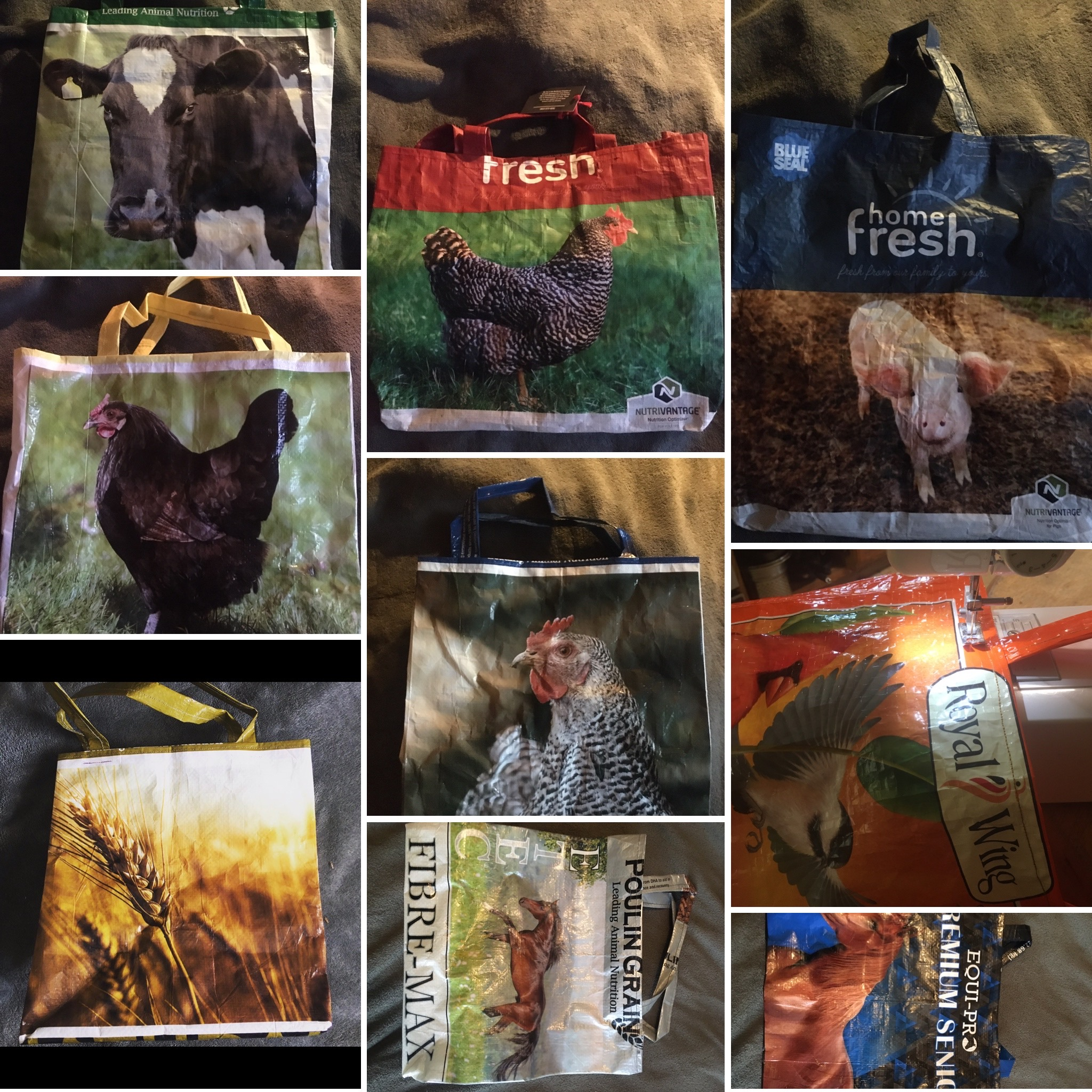 A collage of 9 reusable, market totes
