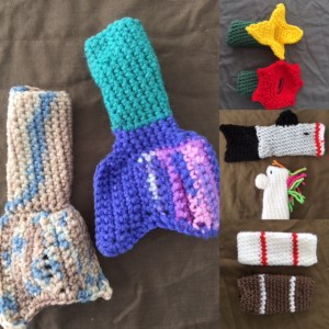 collage of different popsicle sleeves/holders: mermaid tails, shark, horse, baseball, football, yellow or red flower.