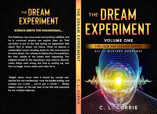 Cover art for The Dream Experiment. Mostly black with red gold lettering and teh shadowing outline of head and torso of someone with yellow light coming from their forehead.