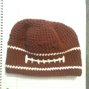 handcrafted football hat for a toddler