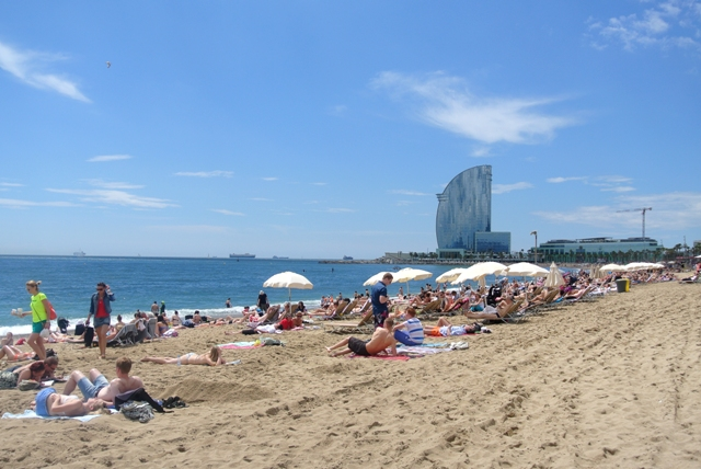 view over Barcelona beach and W hotel