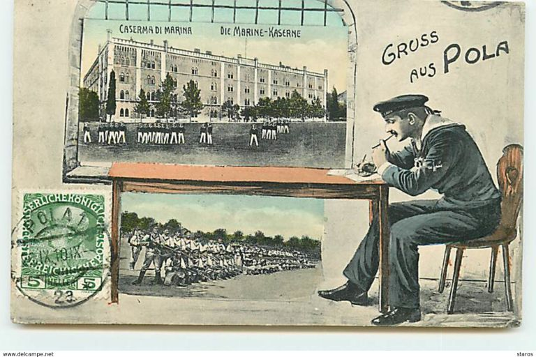 Old postcard of KuK Pula with scenes from military navy life