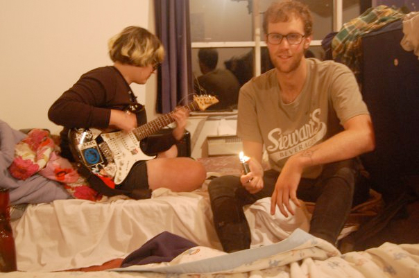 Juls and Steve pick away at early Surrogate Activity tunes, 2009.