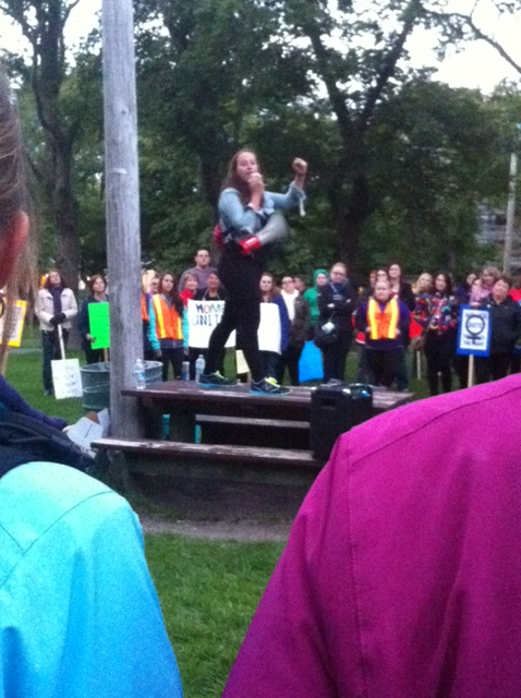 Renee teaching defence at the Take Back The Night Rally in St. John's, Photo by Kerri Claire 2014