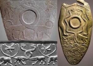 Apatosauri în Egipt (stânga-sus și dreapta) și în Mesopotamia (stânga-jos)