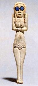 Ivory figurine with blue lapis lazuli eyes - predynastic Egypt circa 4000 BCE