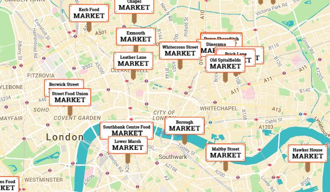 Street Food Market Map London