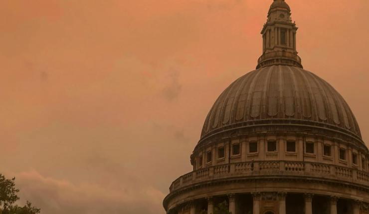 Yellow Sky London Storm Ophelia
