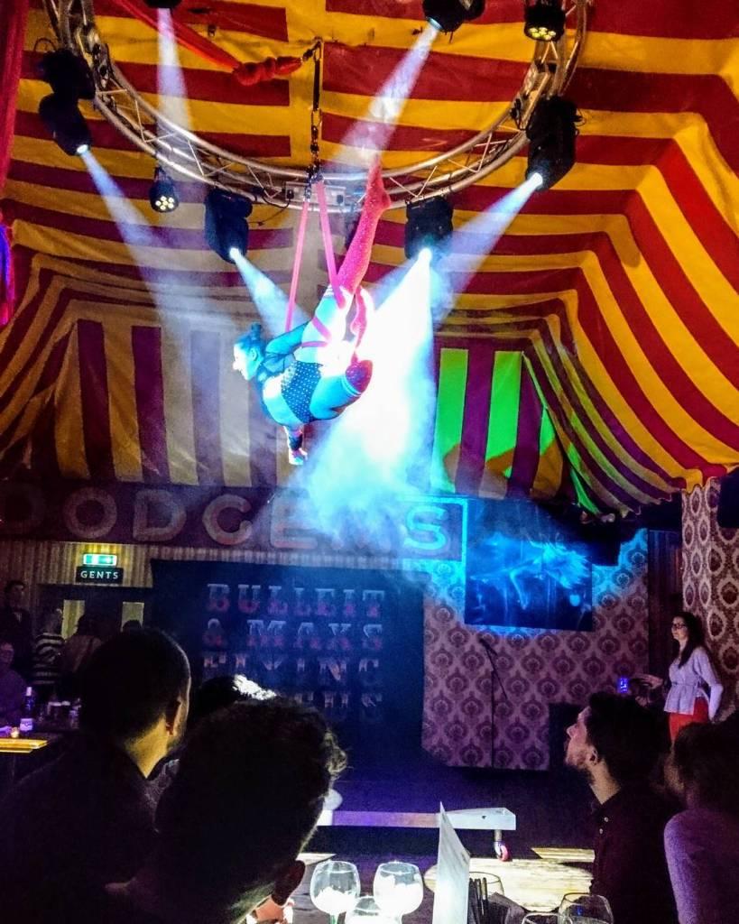 Aerialist performers circus pub London