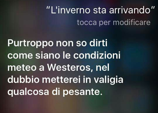 Siri è una grandissima fan di Game of Thrones