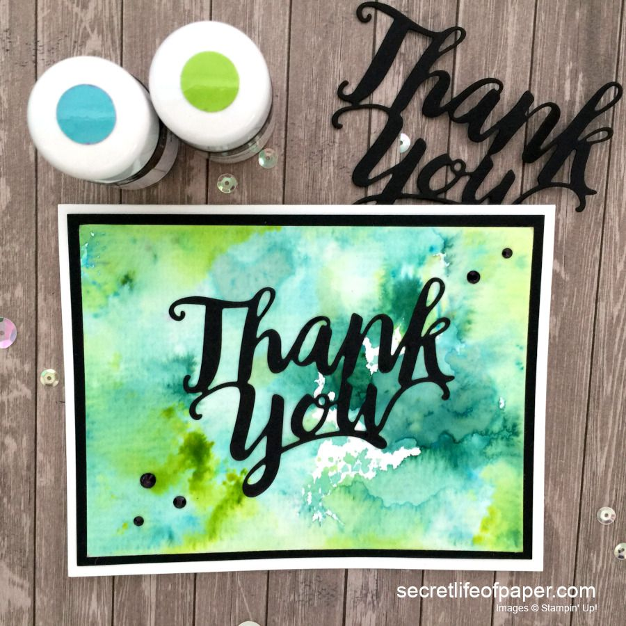 Stampin Pigment Sprinkle Thank You Die Card Green