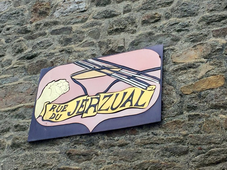 Rue Jerzual sign - Medieval town of Dinan