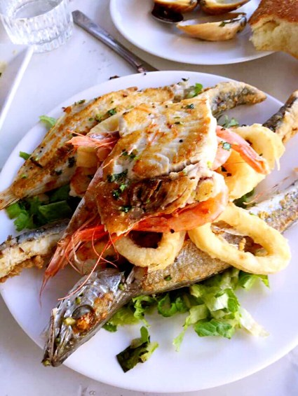 Fish dish with calamari