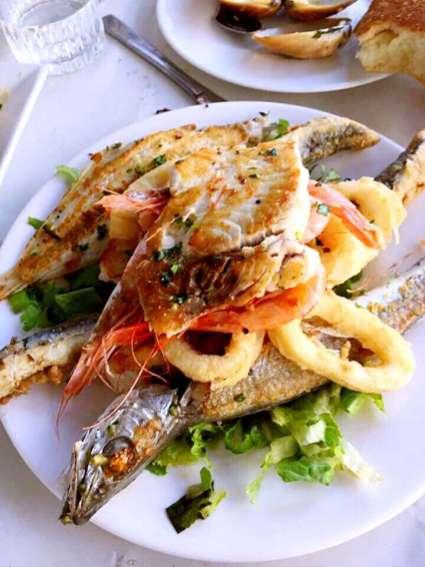 Fish dish with calamari