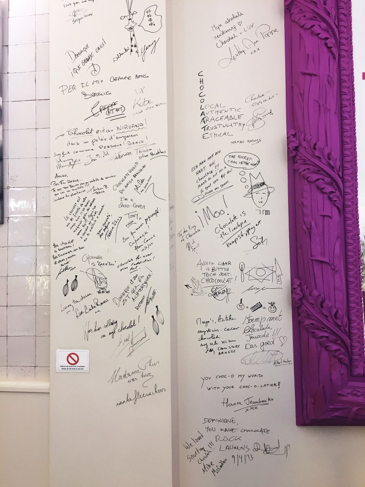 Message on wall at Chocolate Line - things to do , 24 hours in Antwerp
