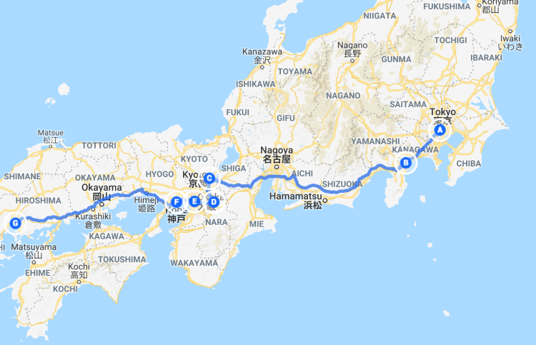 Google map of Japan trip itinerary - planning a trip to Japan for the first time