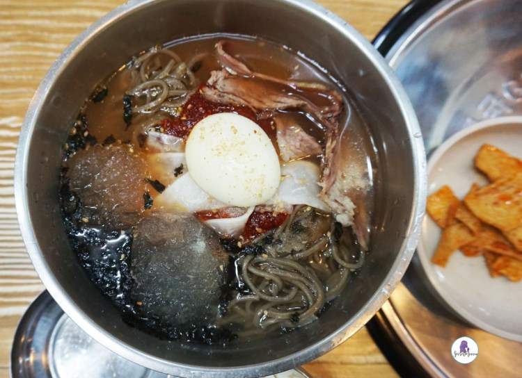 Naengmyeon (cold buckwheat noodles - 냉면) Best Korean food to try while in Korean.