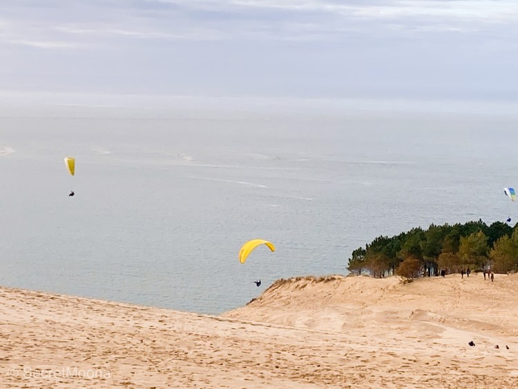 People paragliding on sand dune