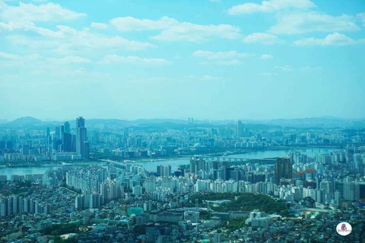 Korea bucket list - Bird's eye view of Seoul from the Namsan Tower