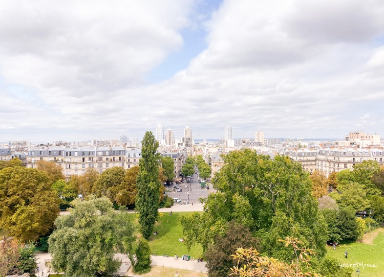 View of Paris 19eme from the hill of Buttes Chaumont