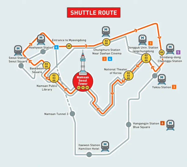 Namsan Tower shuttle route