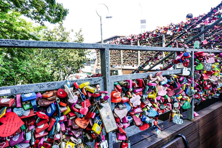 Love locks on railing at Namsan Tower, Seoul