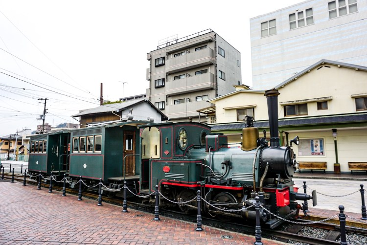 Botchan Ressha, a replica of a small-gauge steam locomotive in the city of Matsuyama, Ehime - Shikoku Island