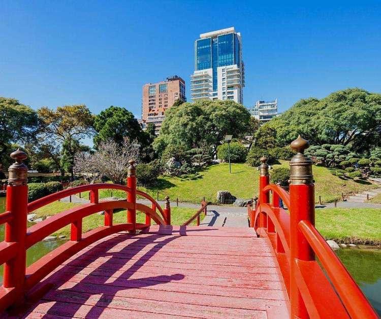 Jardín Japonés red bridge  Buenos Aires, Argentina