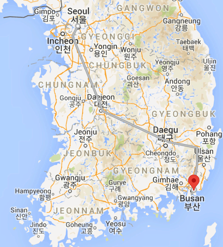 Map from Seoul to Busan, South Korea