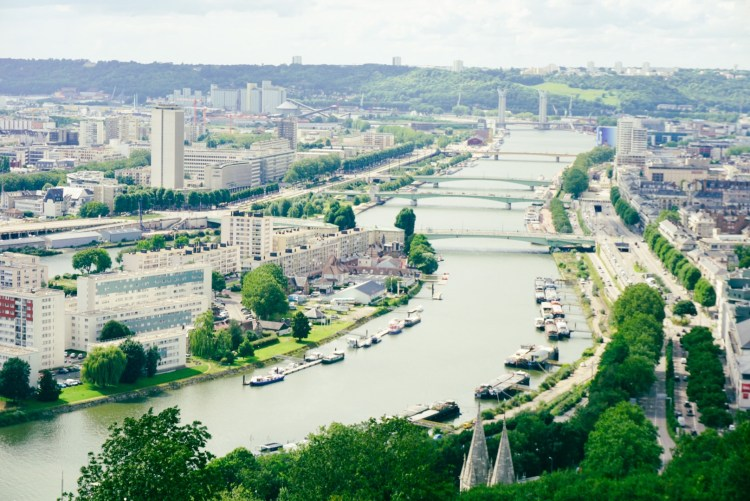 Panoramic view of Rouen, Normandy France
