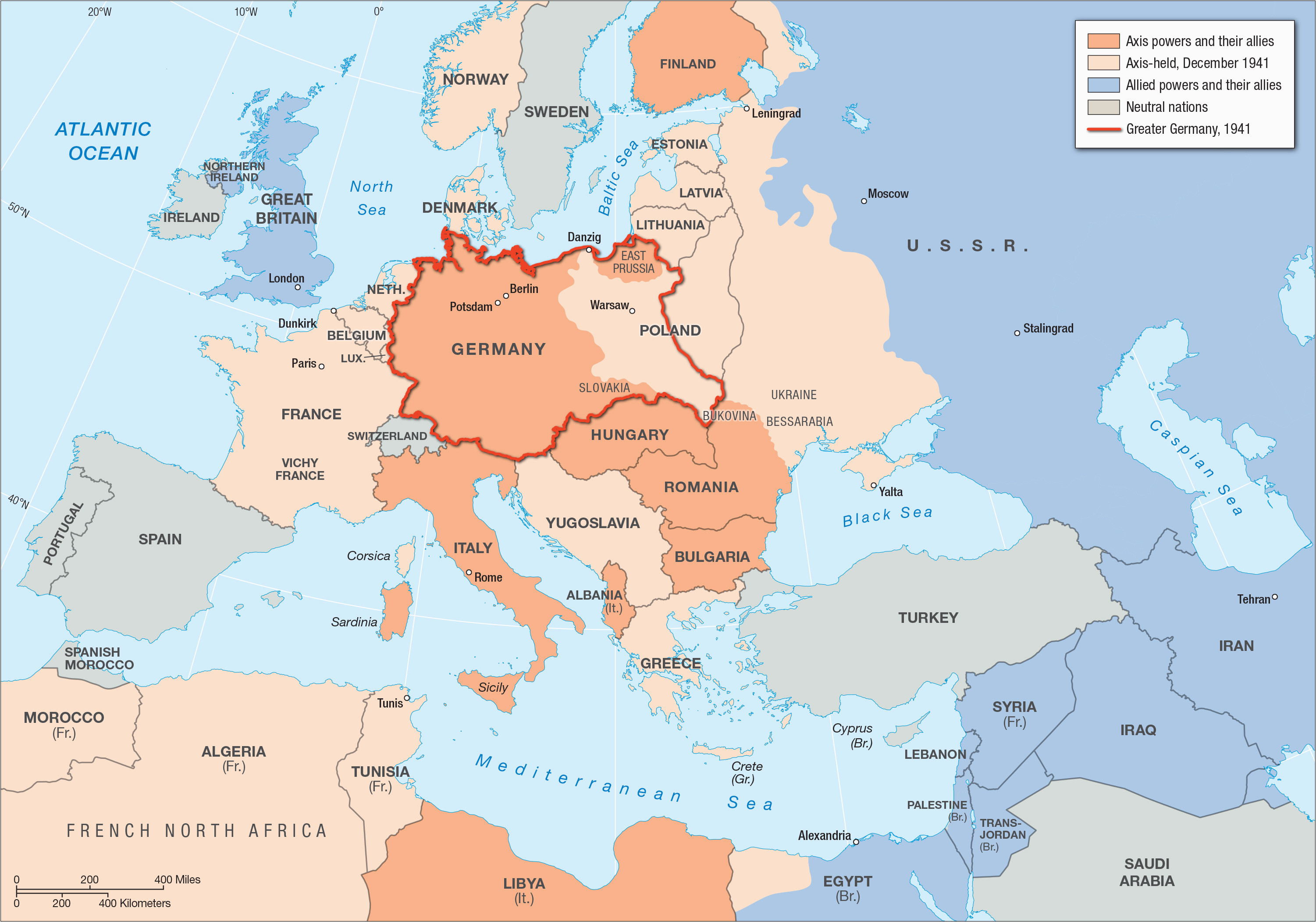 World War Ii In Europe And North Africa Map