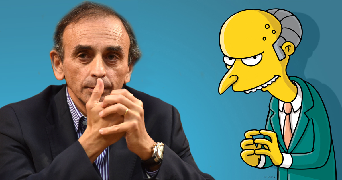 eric-zemmour-mr-burns-simpson-film Cinéma : Jean Messiha jouera le rôle de Milhouse dans le prochain film Les Simpson
