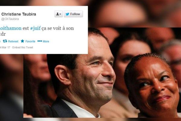 """""""Benoit Hamon est juif, ça se voit à son pif"""" – Les tweets antisémites de Christiane Taubira"""