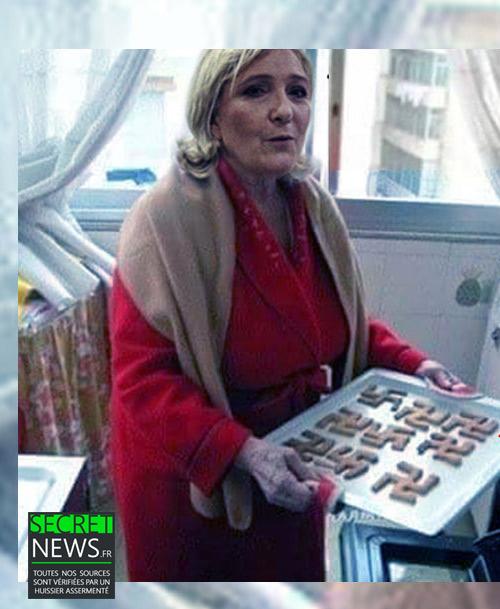 marine-le-pen-biscuits-nazis-1-1 Des biscuits en forme de croix gammées nazies : Marine Le Pen photographiée à son insu dans sa cuisine
