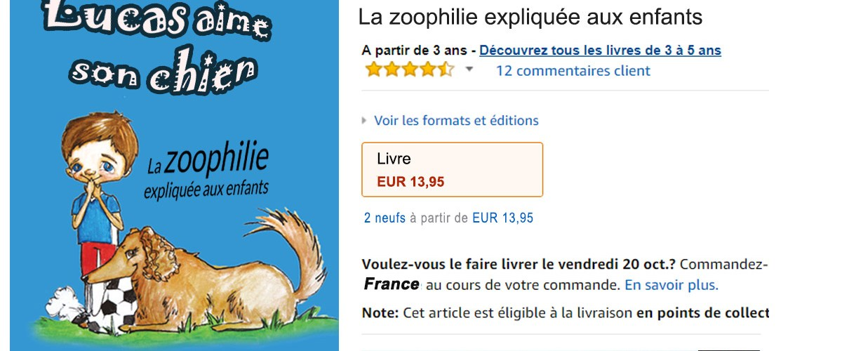 Un livre d'éducation à la zoophilie pour les enfants retiré de la vente sur Amazon