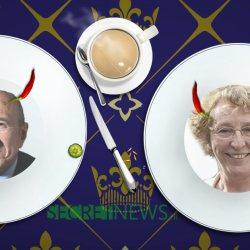 Les portraits des ministres imprimés sur les nouvelles assiettes de l'Élysée