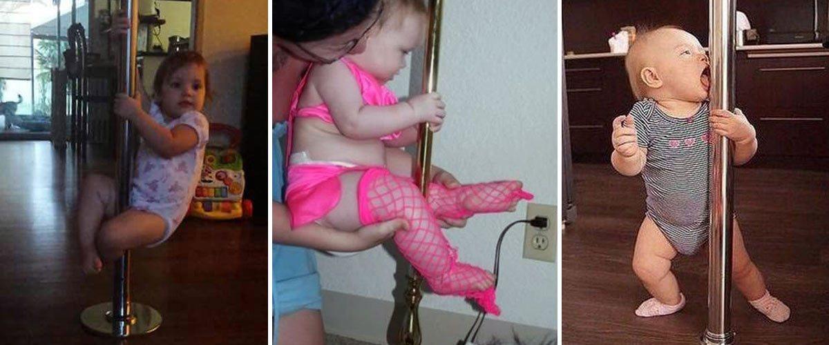 Des cours de pole dance pour bébés dans une école de striptease à Paris