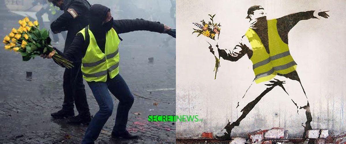 Street-art :  Banksy dévoile un graffiti inspiré par les Gilets Jaunes