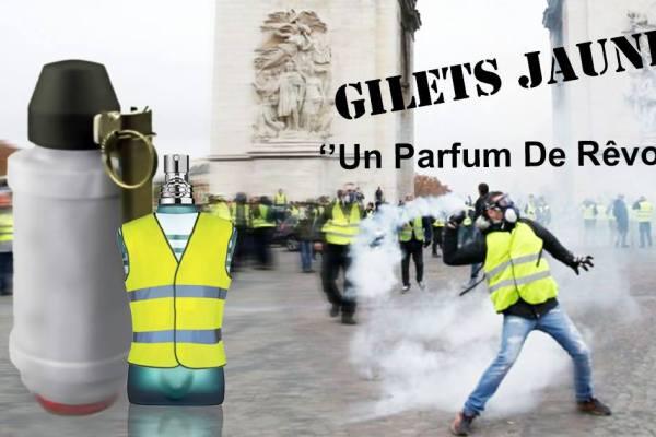 """Gilets Jaunes """"un parfum de rêvolte"""" – une création effrontée de Jean-Paul Gaultier"""