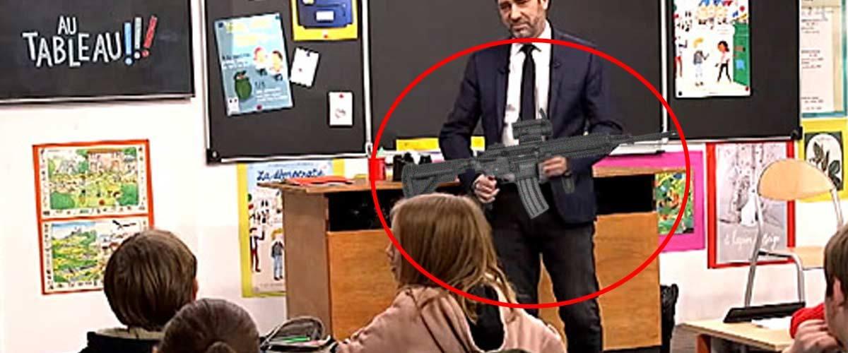 """Castaner présentera aux enfants le fusil d'assaut HK416 dans la prochaine émission """"Au tableau !"""""""