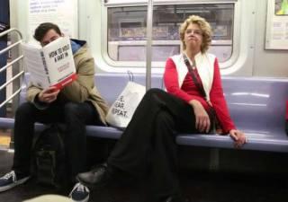 Fake book covers NY subway