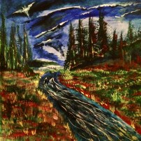 """12x12 Acrylic Painting on a wooden surface, """"Salmon Fishing with The Dark Knight"""""""