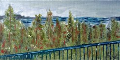 This was inspired by the view outside my balcony, looking out over the bay, just selecting parts of my view that I wanted to include in this oil painting. We haven't had rains in a long time. And two days of grey really did a lot for our plants; and did a lot to inspire me with different colours - more grey and muted - than I normally do.