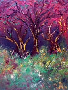 One of my three favourite pieces, this was done over the course of the entire week, spending about an hour at least (and a couple hours on the last day), adding layer upon layer of colour. The picture at the top of this post splits the screen into three, each part a stage of the painting before it was finished. (Not For Sale)