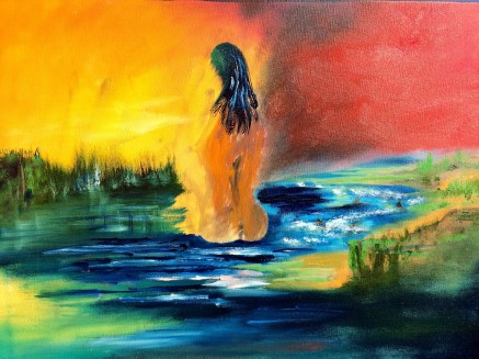 "18x24 Oil Painting. ""Lady on the Lake"""