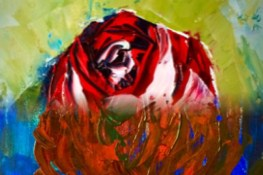 Rose (done with oils and palette knife). This is actually two different paintings combined into one.