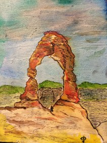 Delicate Arch (laid ink over the watercolors)